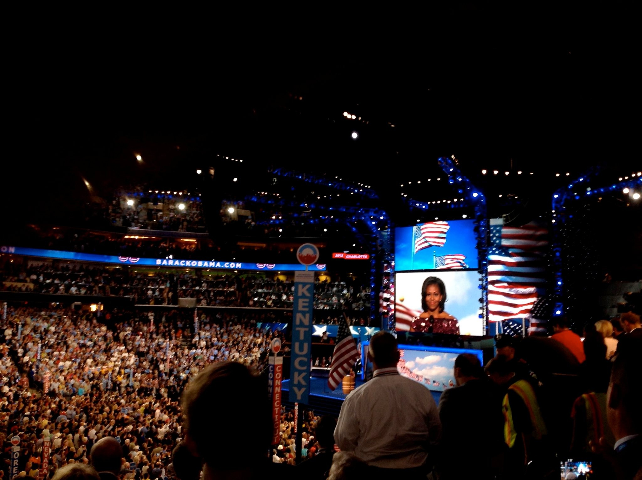First Lady Michelle Obama speaks at the 2012 Democratic National Convention in Charlotte, North Carolina.