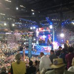 The DNC delegates celebrate as President Obama takes the stage.