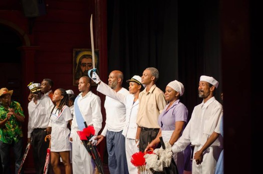 The cast and crew of Winston Farrell's 'The House of Landship' receive a rousing standing ovation following a performance in Barbados. (Google Images)