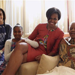 Nelson Mandela meets with First Lady Michelle Obama and Sascha and Malia Obama. (Google Images)
