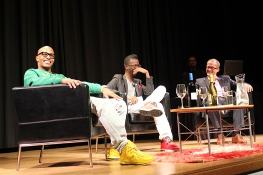 Grammy award-winning rapper Clifford 'T.I.' Harris, visual artist Fahamu Pecou and High Museum of Art Curator Michael Rooks discuss art, hip hop and culture.  (Photo Credit: DJ Blak Magic)