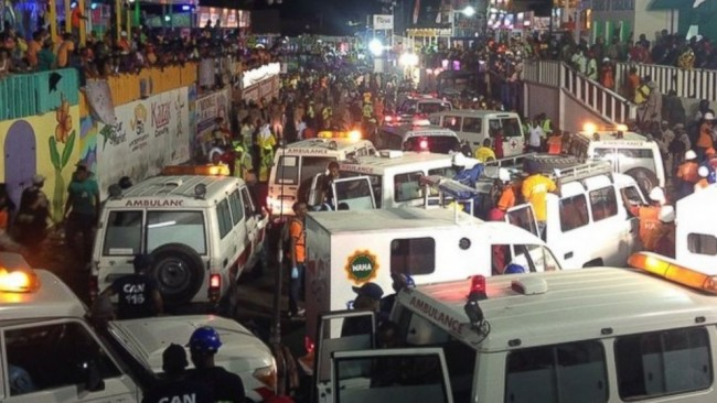 Photo of the chaos following the float accident at Carnival in Haiti that resulted in 20 people dead and countless injuries. (Photo: Google)