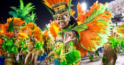 A Carnival Samba group dances in the streets of Rio de Janeiro.  (Photo: Telegraph UK)