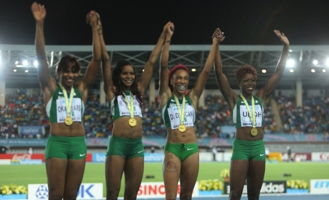 Nigeria's Blessing Okagbare, Regina George, Dominique Duncan and Christy Udoh win the 4x200m relay at World Relays.  (Photo: Google Images)