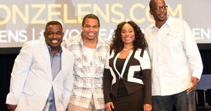 ATLANTA, GA - AUGUST 08:  Rodney Perry, Omar Gooding, Angell Conwell, and Bentley Kyle Evans pose for a photograph following the question and answer session for the Bounce TV show Family Time at Georgia World Congress Center on August 8, 2015 in Atlanta, Georgia.  (Photo by Chris McKay/Getty Images  for Bounce TV)