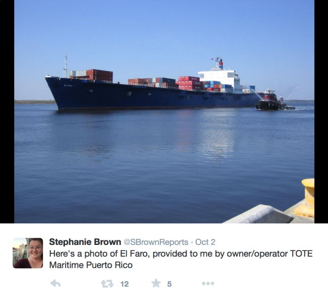 Reporter Stephanie Brown posts a photo of El Faro on her Twitter Page.