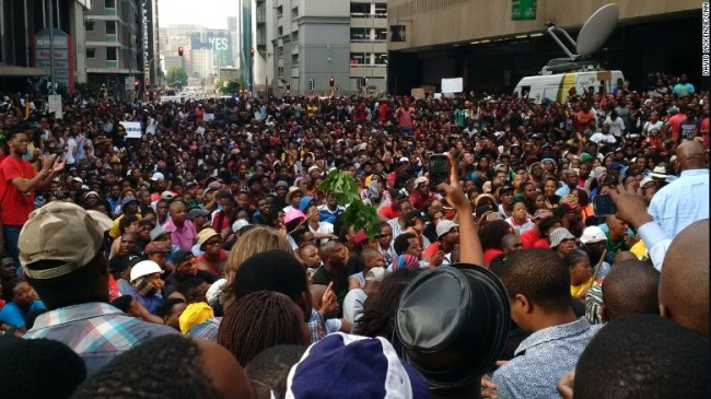 South African students protest fee hike. (Google Images)