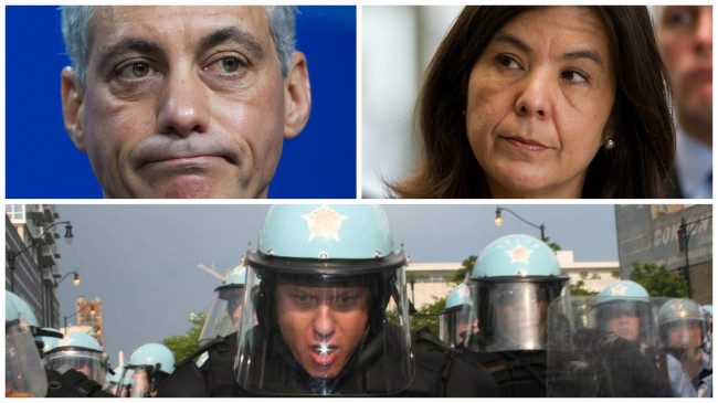Chicago Mayor Rahm Emanuel (top left), Cook County State's Attorney Anita Alvarez (top right) and former CPD officer Jason Van Dyke (bottom). (Photos: Google Images)