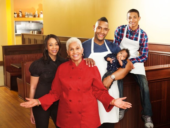 OWN's 'Welcome to Sweetie Pie's' cast members (l. to r.) Jenae Wallick, Ms. Robbie Montgomery, Tim Norman, TJ and Charles Crenshaw are now in the show's ninth season (Photo Credit: Oprah Winfrey Network).
