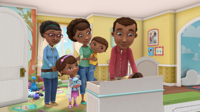 """DOC MCSTUFFINS - The McStuffins family experiences the joys of adoption and also now must adjust to a new baby in the house in a multi-episode story arc of Disney Junior's Peabody Award-winning animated series """"Doc McStuffins,"""" beginning FRIDAY, MARCH 4 (8:00-8:30 a.m. EST) on Disney Channel. (Disney Junior) GRANDMA, DOC, MOM, DONNY, DAD"""