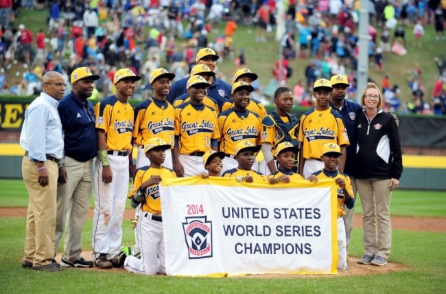 The 2014 Jackie Robinson West team after their U.S. Little League World Series win. (Photo: Google Images)