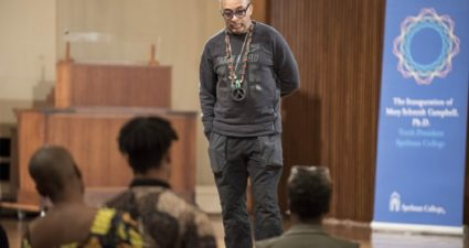 Filmmaker Spike Lee (Morehouse College, C'79) visits Spelman College to screen his socially conscious documentary, '2 Fists Up,' as part of inauguration activities for president Dr. Mary Schmidt Campbell  (Photo Credit: Spelman College).