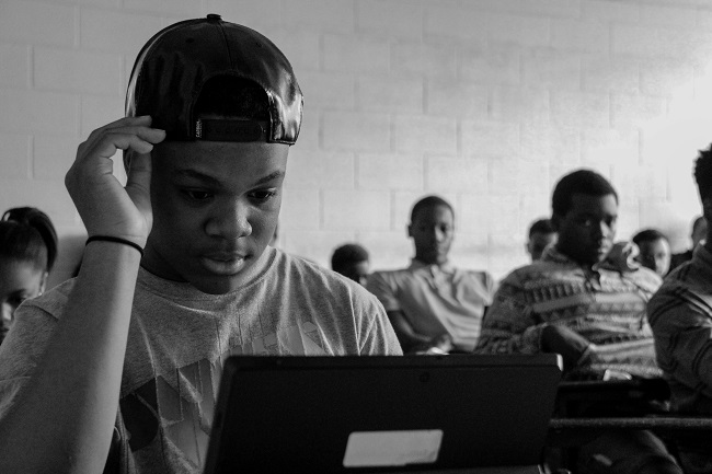 Participants in Usher's New Look learn coding exercises the organization's Spark Lab at Morehouse College (Photo Credit: Tommy Springer, Jr.)