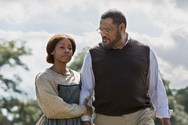 Rose (Kizzy) and veteran actor Laurence Fishburne ('Roots' author Alex Haley) (Photo Credit: Steve Diehl/The HISTORY Channel).