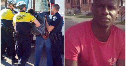 A photo of police officer Nero arresting Freddie Gray, who later died of injuries sustained during the arrest. (Photo: Google Images)