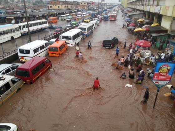 Deadly downpours have lead to flooding in Southern Ghana. (Photo: Google Images)