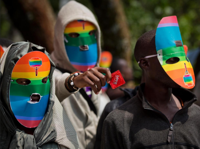 Protesters wear mask during a pro Gay Rights protest in Kenya. (Google Images)