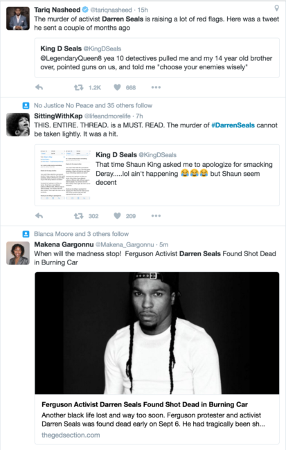 Social justice activist Darren Seals has been found dead. (Photo: Twitter Screen Grab)