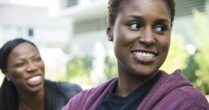 HBO's 'Insecure' star and co-creator Issa Rae experiences relationship and personal drama along with her on-screen best friend Yvonne Orji (Molly). (Photo Credit: Anne Marie Fox for HBO)